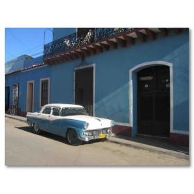 Αφίσα (Κούβα, κτίρια, αυτοκίνητα, δρόμοι)